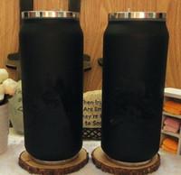 botella para lápiz labial al por mayor-Clásico logo negro Taza de vacío Paja Termos Botella de coche Frasco Copas Garrafa Paja Termica Inox Barra de lápiz labial Café Viaje