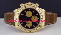 gelbe lederuhren großhandel-Luxus Uhren Braunes Lederarmband 40mm 18kt Gelbgold Schwarz Paul Newman Dial - 116518 Mechanische Automatik Herrenuhr