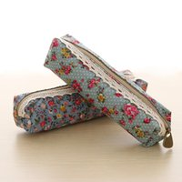 Wholesale hot new office supplies resale online - 1PC Hot Sell New Unique Lace Rose Floral Pencil Case Cosmetic Handbag Makeup Bag School Stationery Office Supplies