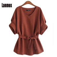 Wholesale Office Linens - Lanmox Plus Size Blouses Newest Women Linen Office Shirt Tops Fashion Short Sleeve V Neck Casual Brief Blouse Summer Shirts