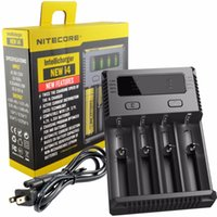 Wholesale 12v Li Ion Batteries - Original Nitecore I4 Battery Charger 18650 14500 16340 26650 LCD Li-ion Charger 12V Input Charing for A AA AAA Batteries