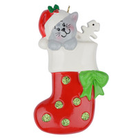 Wholesale personalized cat gifts online - Maxora Kitty Cat Dog Stocking Glossy Polyresin Hand Painting Personalized Christmas Tree Ornaments Used For Holiday Keepsake Gifts and Home