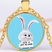 Wholesale bunny necklaces resale online - round trendy alloy Copper Plated children Cartoon The Secret Life of Pets Necklace bunny Necklace Snowball rabbit Pendant Necklace x572