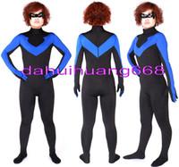 супер герой костюм синий оптовых-Черный/синий лайкра спандекс костюм супергероя Костюм комбинезон костюмы унисекс фэнтези Супер герой костюм тела костюмы Хэллоуин косплей костюмы DH166