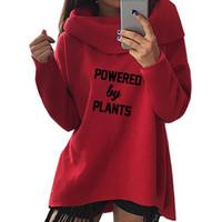 ingrosso piante primavera-2018 New Fashion Spring Powered By Plants Vegan Print Tops Felpe con cappuccio Kawaii Felpe donna carina casual creativa ritagliata