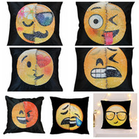 Wholesale Funny Squares - Reversible Sequin Mermaid Pillow Case QQ Emoji Funny smiley Pillow Cases 40x40cm for Bedroom Home Pillow Cover