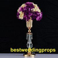 soportes de acrílico para centros de mesa al por mayor-Nuevo estilo de cristal acrílico moldeado centros de mesa de la boda soporte de mesa decoración para el evento de boda decoración del partido best0372