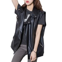 Wholesale female gilet - Streetwear Women's PU Vest New Autumn Oblique Zipper Sleeveless Jacket Female Outwear Waistcoat Plus Size S~XL Black Gilet Femme