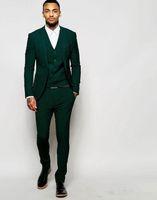 Wholesale mens suits piece designs - Latest Design One Button Dark Green Groom Tuxedos Groomsmen Best Man Suits Mens Wedding Blazer Suits (Jacket+Pants+Vest+Tie)