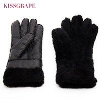 овчарки оптовых- New Winter Women's Warm Leather Gloves Female Thick Sheep Fur Gloves Outdoor Mittens Women Woollen Handmade Finger