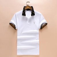 Wholesale White Pattern Shirt - L Summer New Fashion Brand Men Short-Sleeved Polo Shirts Cuffs Collar Geometric Pattern Letter Printing Medusa Casual Shirts