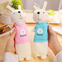 lápices de pascua al por mayor-Linda caja de lápices de dibujos animados Kawaii de felpa creativa encantadora de Pascua conejo bolsa de la pluma para el regalo de los niños útiles escolares Kaqiqi bolsa de lápiz coreano
