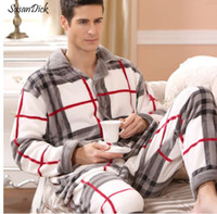 Wholesale thick warm sleepwear - SusanDick New Winter Pajamas Men Thick Fleece Pajama Sets Luxury Warm Sleepwear Plaid Suits Man Casual Home Clothes Pijama
