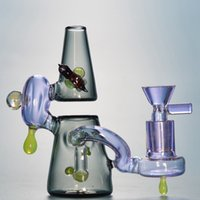 Wholesale small pink water pipe resale online - 2018 Mini Heady Pink Glass Bong Colorful Dab Rigs Small Oil Rig Cool Dab Bong Purple Glass Water Pipes Unique Potable Bubbler Pipe