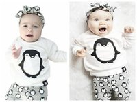 Wholesale Todder Boys - Newborn baby girl boy clothes penguin top T-shirt+pants leggings 2pcs outfits children boy girls fashion suit todder outfits