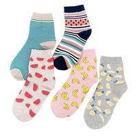 muz kızları toptan satış-Moda Çorap Taze Meyve Muz Karpuz Desen Komik Komik Kadın Çorap Nefes Rahat Basit Kız Penye Pamuk Çorap
