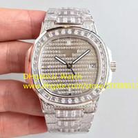 роскошные часы бриллианты оптовых-Высокое качество Full Diamonds Luxury Watch Cal.324SC Автоматические наручные часы Календарь Сапфировое стекло 40 мм Швейцарские часы с коробкой и бумагами