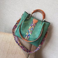 Wholesale ladies piece handbag for sale - Fashion Women Handbags Ladies Shoulder Bags Dull Polish Bucket Bags Color Strap Totes Female Two Piece Set Bags Vintage Crossbody Handbag