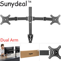 Wholesale universal lcd mount - Universal Dual Arm TV Mount Monitor Mount Double Twin Arm Desk Stand TV LCD LED 10-27
