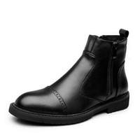 botas negras de cuero para hombre al por mayor-Spring Autumn Men Martin botas de estilo British Vintage botas de moto cuero de microfibra Male Brogue Shoes Botines negro