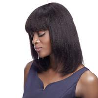 işlenmemiş bakire bob peruk toptan satış-Ucuz moda 100% işlenmemiş bakire remy İnsan saç kısa doğal renk yaki düz bob tam dantel peruk kadınlar için çekici