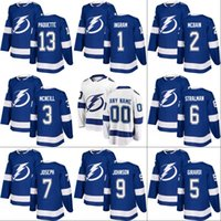 Wholesale Orange Bay - 2017-18 Tampa Bay Lightning Jersey 1 Connor Ingram 14 Chris Kunitz 21 Brayden Point 32 Joseph Raaymakers Custom Hockey Jerseys White Blue