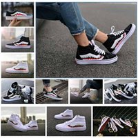 Wholesale custom print canvas - 2017 X sharktooth Custom Sneakers Women And Mens Black White Old Skool Convas Sport Casual shoes