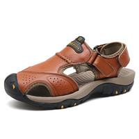 zapatos de trekking de cuero para hombre al por mayor-2018 cuero genuino sandalias de senderismo para hombres mujeres de verano suave para hombre zapatos de senderismo luz transpirable sandalias de trekking de playa