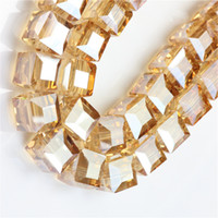 Wholesale 8mm cube beads for sale - Group buy GOLD CHAMPANE CUBE SQUARE Crystal AB GLASS Loose Spacer BEADS DIY JEWELRY MAKING MM MM MM MM