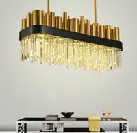 candelabros de bronce cristales al por mayor-Restaurante, lámpara de cristal cuadrada, posmoderna, sencilla, de acero inoxidable, villa de bronce, lámpara LED de cristal moderna para el dormitorio LLFA