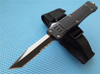 Wholesale Express Settings - Custom logo Full size A161 Combat troodon D A Auto survival gear knife 440C steel Two-tone blade Hunting knives Express shipping