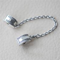 clips 925 achat en gros de-100% authentique 925 argent Sterling Clips de chaîne de sécurité avec logo et boîte d'origine pour Pandora Charms Bracelet Bijoux DIY Making