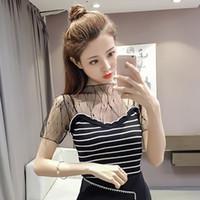 Wholesale black slim shirt korean women - Female T-shirt Sexy Tee Shirt 2018 Summer Top New Korean Slim Thin Sleeves Splice Mesh Sweaters Fashion Hollow T-Shirt