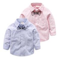 camisa do colar do mandarino dos meninos do bebê venda por atacado-MAGGIE'S WALKER Bebê Meninos Meninas Roupas Camisas Listradas Blusa Gola Mandarim Camisas De Algodão Crianças Bow Tie Impresso Meninos Camisas