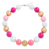 розовые ожерелья из бисера оптовых-Розовый Bubblegum ожерелье мода корейский акриловые коренастый бисером колье ожерелья Для детей Дети ювелирные изделия новорожденных девочек