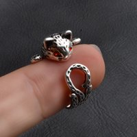 Wholesale hippie rings - New Fashion Animal Ring Zinc Hippie Vintage Anel Punk Kitty Wedding Ring Boho Chic Retro Cat Rings for Women Party Rings