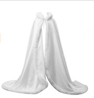 ingrosso inverno abiti da damigella d'onore-White Women Wedding Cape Bridal Jacket Mantella Wrap Scialle Lungo Party Wraps Long Capes Accessori da sposa Scialle da sposa