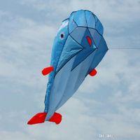 fliegen räder spielzeug großhandel-Leicht zu fliegen Rahmenloses Flugspielzeug Hochwertiger 3D-Riesen-Delphin-Blau-Drachen mit weichem Parafoil Outdoor-Sport-Delphin-Drachen