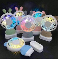 Wholesale small electric lights online - New Creative Multi Color Mini Portable Fan Outdoors Shift Strength Handy Fans Electric Night Light Usb Charge Small Fan ky aa