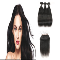 melhor venda de extensões de cabelo virgem venda por atacado-Best Selling Malaio Unprocesssed Virgem Extensões de Cabelo Macio 3 Pacotes Com Parte Livre de Fechamento 100% Cabelo Humano Real