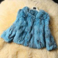 Wholesale Short Orange Fur Jacket - Real Rabbit Fur Winter Women Short Fur Coat Jacket Warm Coat Female Round Neck Outerwear 2016 New Fashion ZP370