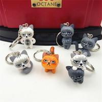 Wholesale fashion design dolls - Super Kawaii Japanese Style Grumpy Cat Keychain Cartoon Design Cartoon Doll Shape Key Ring Fashion Lovely Keys Buckle 1 9mw Z
