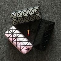 Wholesale fold up makeup case resale online - New Fashion Women Cosmetic Bag Cases Geometric Folding Make Up Bag Quality PVC Organizer Makeup Case Beauty Bags