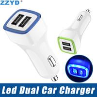 vehicle venda por atacado-ZZYD LED Dual USB Car Charger Vehicle Adaptador de Energia Portátil 5V 1A Para Samsung S8 Nota 8 iPX