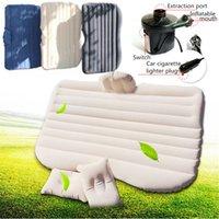 aufblasbare matratzenpumpe groihandel-Im Freien aufblasbare Matratze Auto Luft Bett Rücksitzbezug Kissen mit 2 Kissen und Luftpumpe für Reisen Camping LJJM27