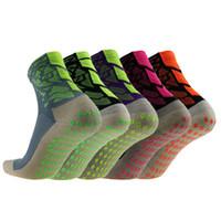 calcetines de nylon al por mayor-Tutomptu 5 Pares de Nylon Hombres Mujeres antideslizantes Calcetines de Fútbol Transpirable Tenis Al Aire Libre Bádminton Calcetines de Fútbol de Alta Calidad