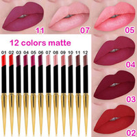 Wholesale lipstick bullets resale online - CmaaDu Colors Matte Lipstick Lip Waterproof Makeup Lasting Lip Stick Maquiagem with Gold Bullet Shape Tube