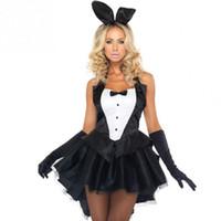 trajes de conejito de las mujeres al por mayor-Bunny Girl Disfraces de Conejo Sexy Cosplay Disfraces de Halloween Adulto Animal Para Las Mujeres Vestido de Fiesta Clubwear Desgaste del traje del conejito C18111601