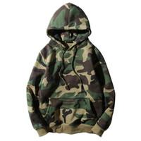 Wholesale camo fleece mens - Army Green Camouflage Hoodies Winter Mens Camo Fleece Pullover Hooded Sweatshirts Hip Hop Swag Cotton Streetwear S-2XL