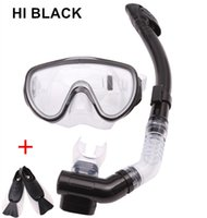 Wholesale Adult Flippers - Professional Diving Mask Set Flippers Breathing Tube Adult Swimming Fins Snorkel Breathing Tube Submersible Long Dive Fins